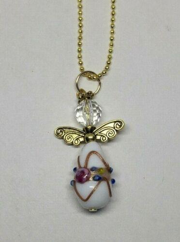 White Lampwork Glass Guardian Angel Keychain// Ornament// Purse Charm// Decor