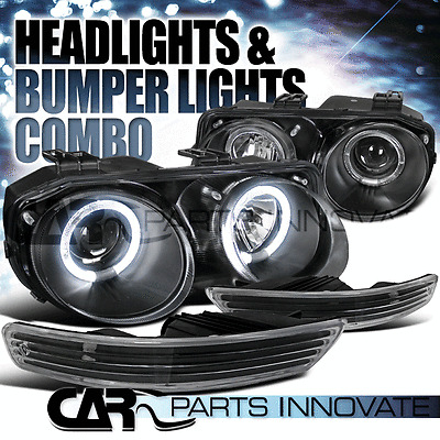 98-01 Acura Integra Dual Halo Black Projector Headlights+Bumper Signal Lamps