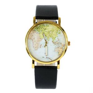 Details about Ladies Gold Electroplated Globe World Map Watch PU Leather  Strap