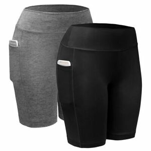 USA-Women-High-Waist-Yoga-Shorts-Pocket-Gym-Cycling-Biker-Hot-Pants-Leggings-NEW