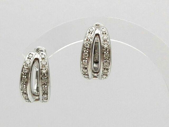 Orecchini donna a cerchio in oro bianco 18 kt con diamanti- White gold earrings
