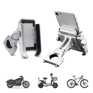 Aluminum-Phone-Holder-360-degree-rotation-Silver-For-bicycle-motorcycle