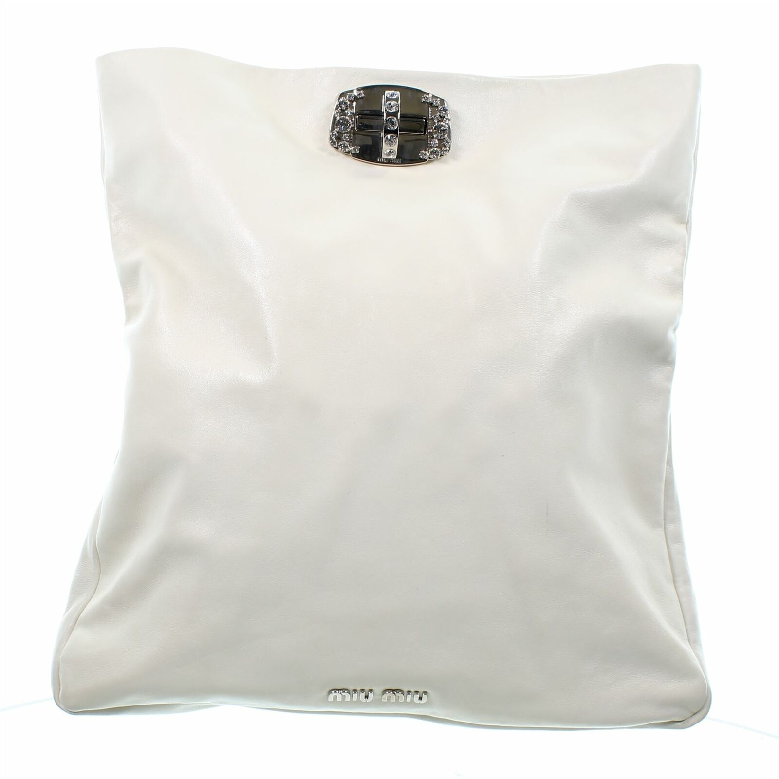 MIU MIU Crystal Chain Ivory Leather Handbag, 9