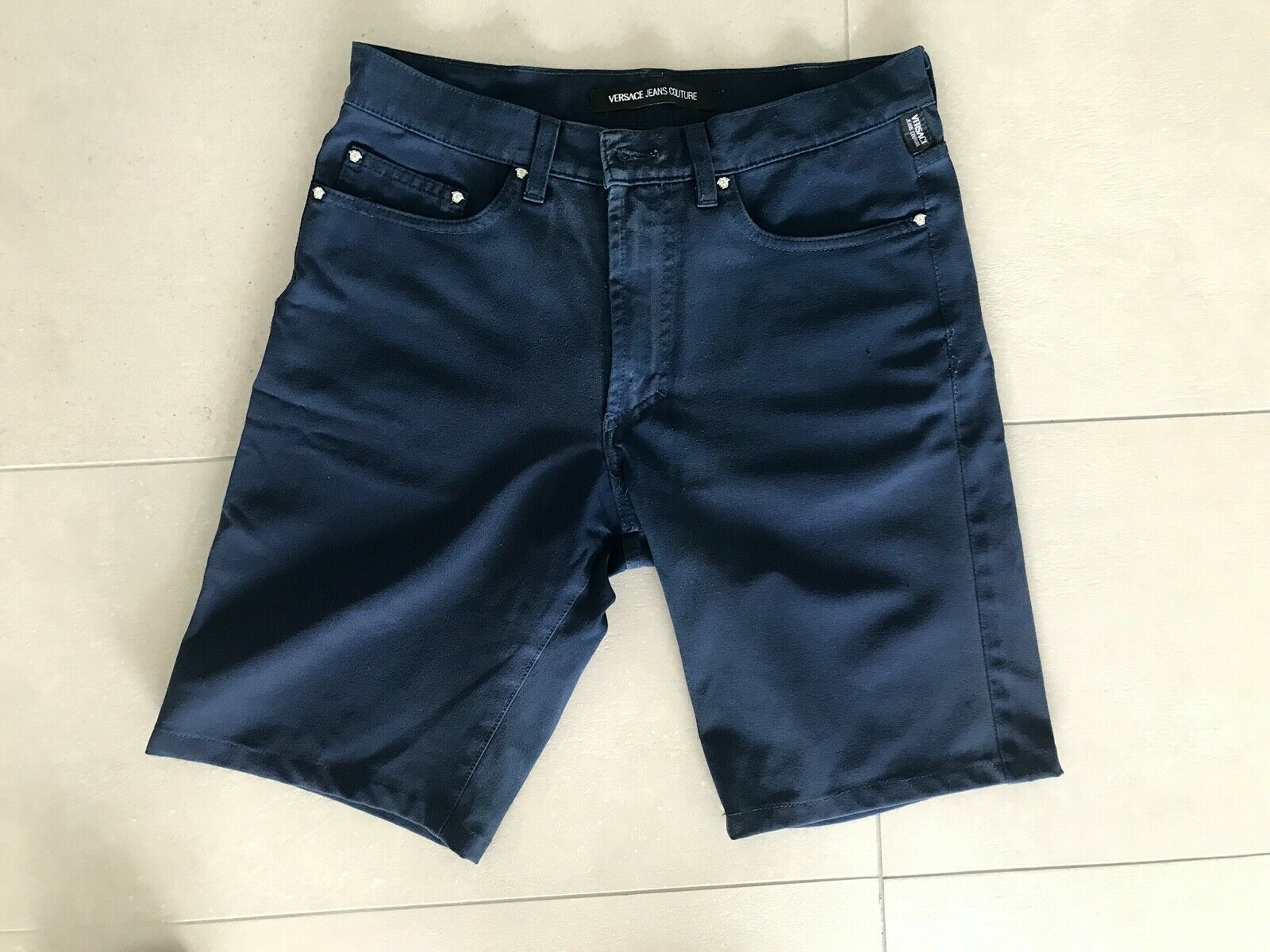 ! top! versace shorts chino azul corto de lujo tamaño 31! top!