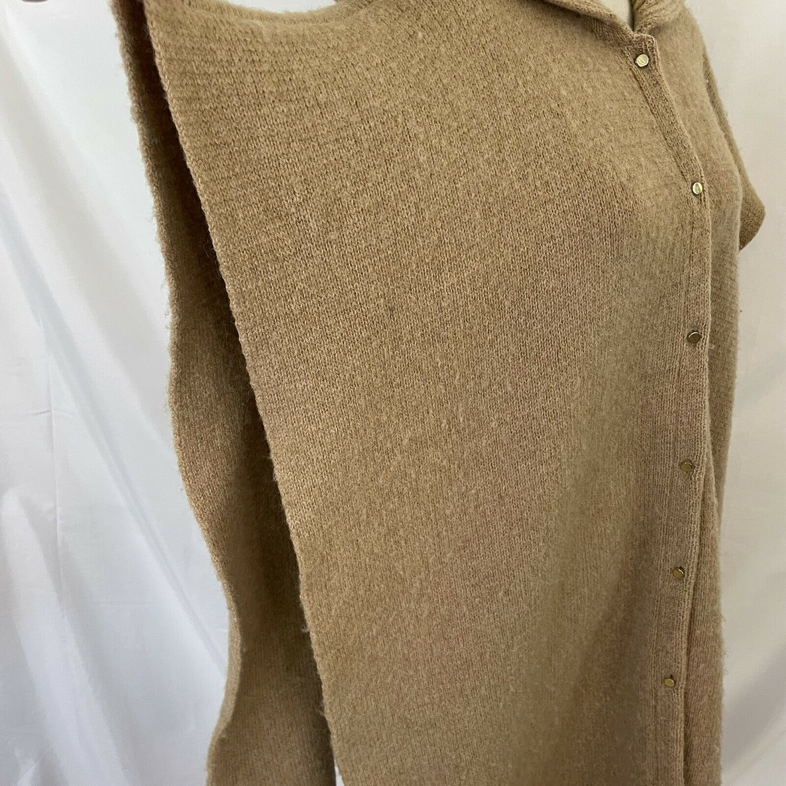 Bonnie Cashin Camel Knit Sweater Cape Poncho Coat - image 6
