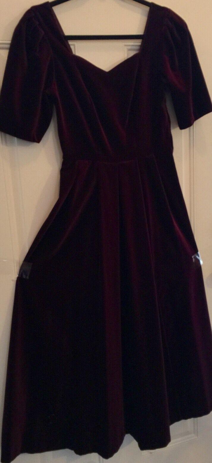 """Laura Ashley Burgundy Velvet Button Back Vintage Us Größe 6 Full Skirt Chest 31"""""""