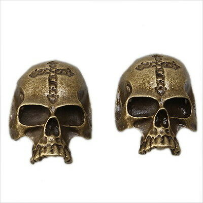 10x Wholesale New Skull Head Alloy Pendants Findings Antique Bronze Charm 142088