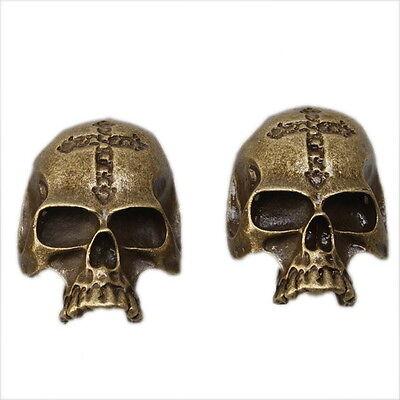 10x Wholesale New Skull Head Alloy Pendants Findings Antique Bronze Charm 142088