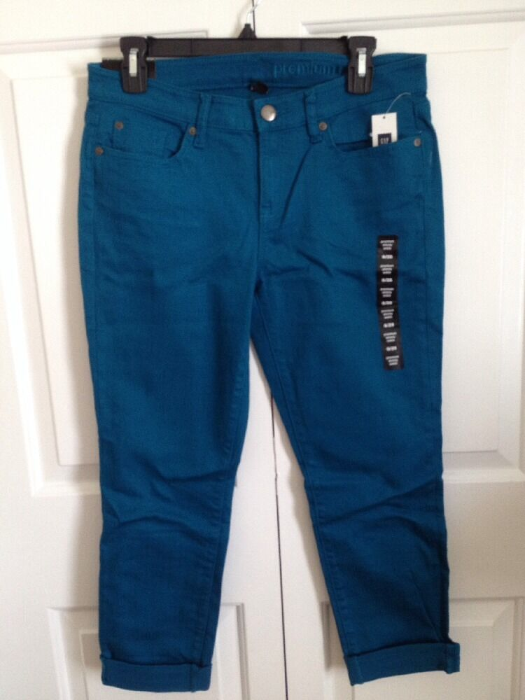 NWT Gap Premium Skinny Ankle Teal colord Denim Jeans 6 28
