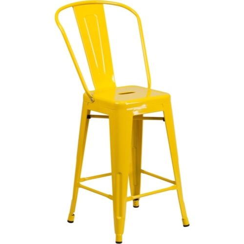 Flash Furniture 24/'/' High Yellow Metal Indoor-Outdoor Counter Height Stool