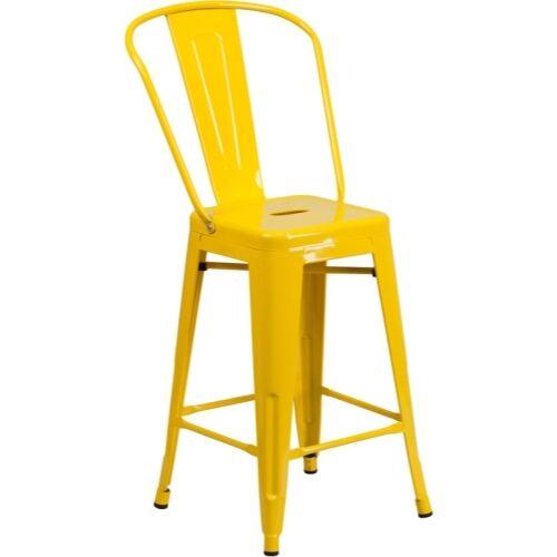 Flash Furniture 24/'/' High Yellow Metal Indoor-Outdoor Counter Height Stool