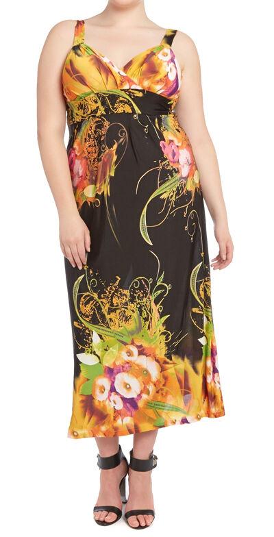 MAXI Abito Taglia 46 vestito nero maxi abito estivo donna abito fiori giallo