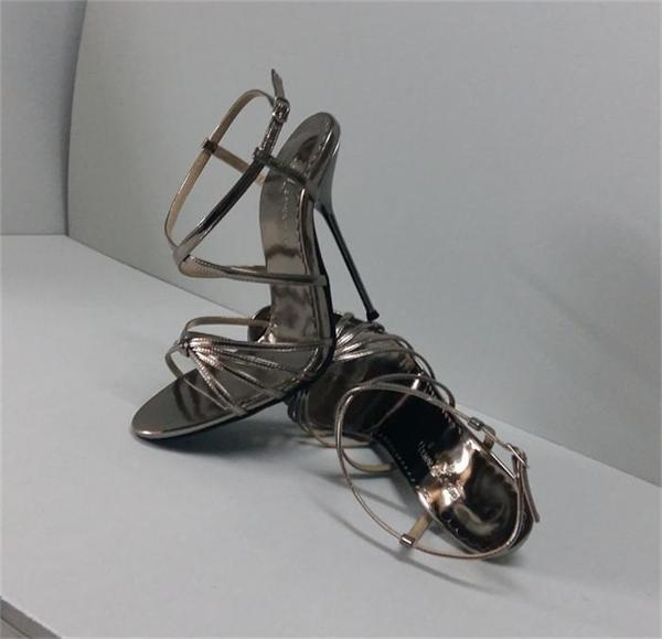 Femmes Peep Toe Super Métal Talon Haut Bride Cheville Sandales Nightclub Chaussure Stiletto