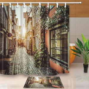 Flowers and walls Bathroom Waterproof Fabric Shower Curtain /& 12 Hooks 71*71in