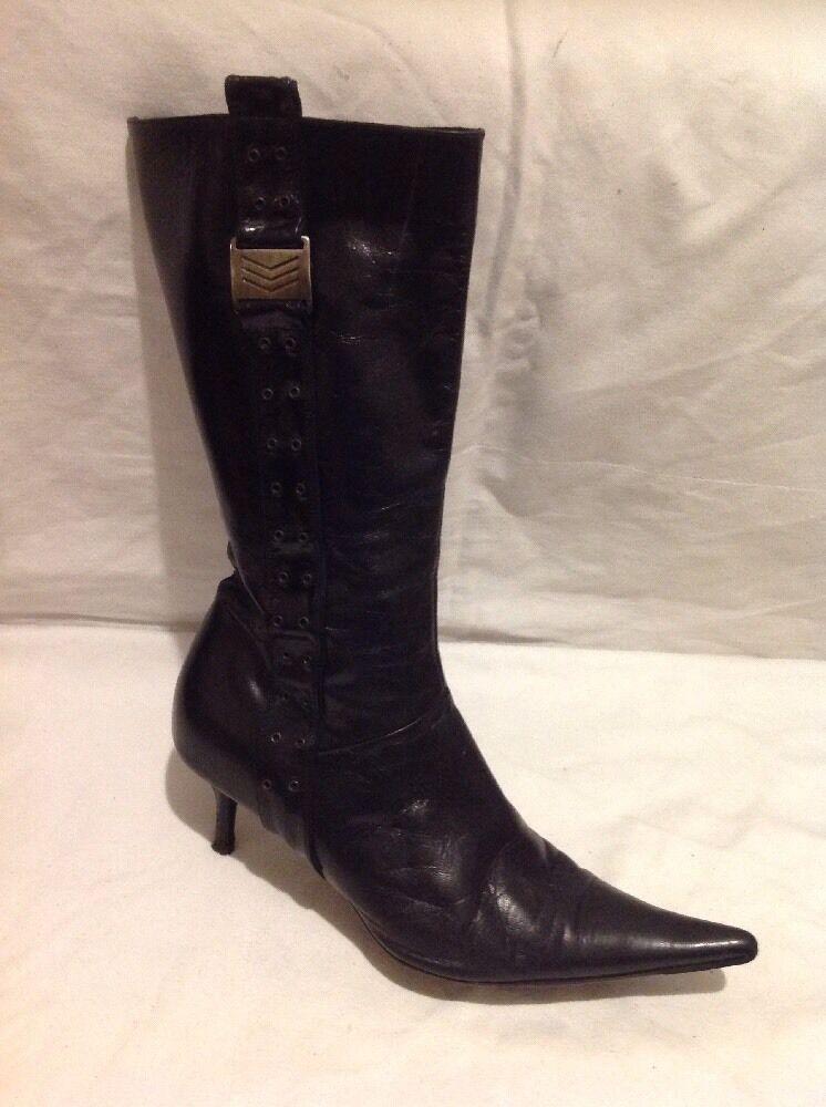 Bertie Size Negro Mid Calf Leather botas Size Bertie 40 3c6ee8