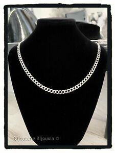 Chaine-50-Cm-X-6MM-Gourmette-diamantee-Maille-Plate-En-Argent-Massif-925-1000