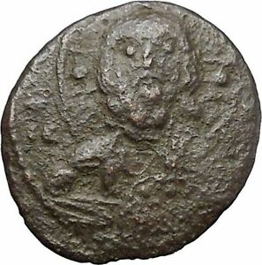 JESUS-CHRIST-Class-I-Anonymous-Ancient-1078AD-Byzantine-Follis-Coin-CROSS-i48308