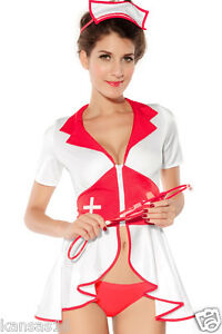 fd9b5fe334f Sexy Naughty Nurse Costume Red Cross Pin Up Lingerie Outfit Ladies S ...