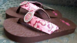 Blazin Roxx Girls Youth Harper Pink Butterfly Glitter Flip Flops Sandals 4209430