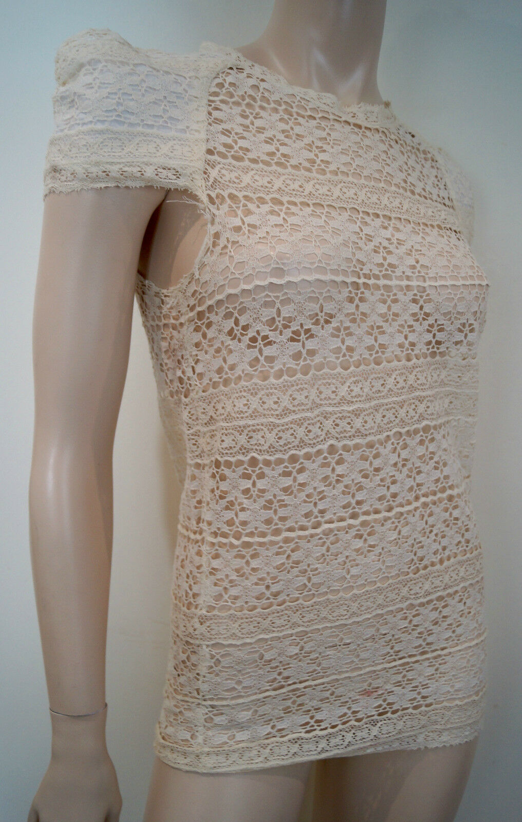 ISABEL MARANT Cream Cotton Blend Crochet Lace Pleated Short Sleeve Top Sz 0; S