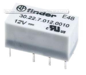 Finder 302270120010 DPDT PCB Mount NonLatching Relay 12V dc
