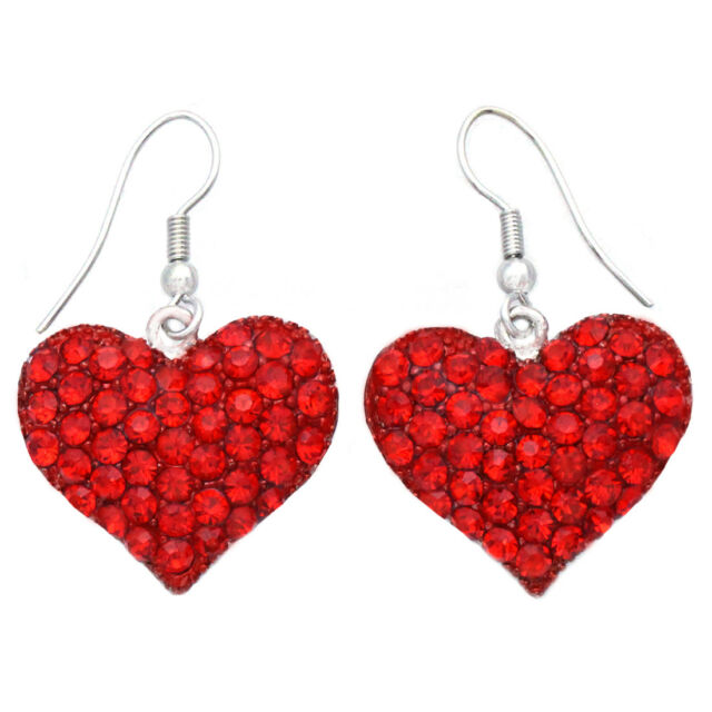 Valentine S Day Gift For Mom Love Red Heart Dangle Drop Earrings
