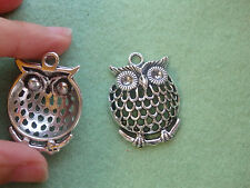 10 large owl charms pendanst Tibetan silver jewelry making wholesale filigree