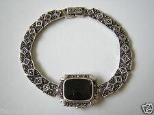 925 Sterling Silber Armband ehemalige Uhr mit Rauchquarz & Markasiten #172