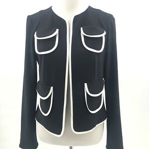 Joseph-Ribkoff-Size-10-Black-and-White-Open-Blazer-Jacket