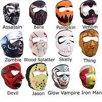 Neoprene Ski Mask - Full Face Reversible Halloween Bikers Masks Skull Venom More