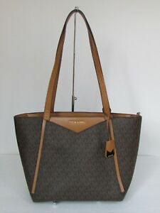 2d6414416843 Image is loading NEW-Michael-Kors-Whitney-Brown-Leather-Small-Shoulder-
