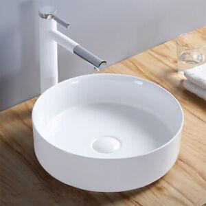 Ceramic Small Round Vessel Sink 14 X 14 For Modern Tiny Bathrooms White Ebay
