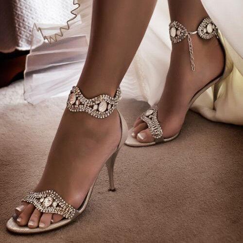 Zapatos de fiesta Mujer con Estrás Peep Peep Peep Toe Sandalias De Tacón Alto abierta Sexy Stiletto Correa  marca de lujo