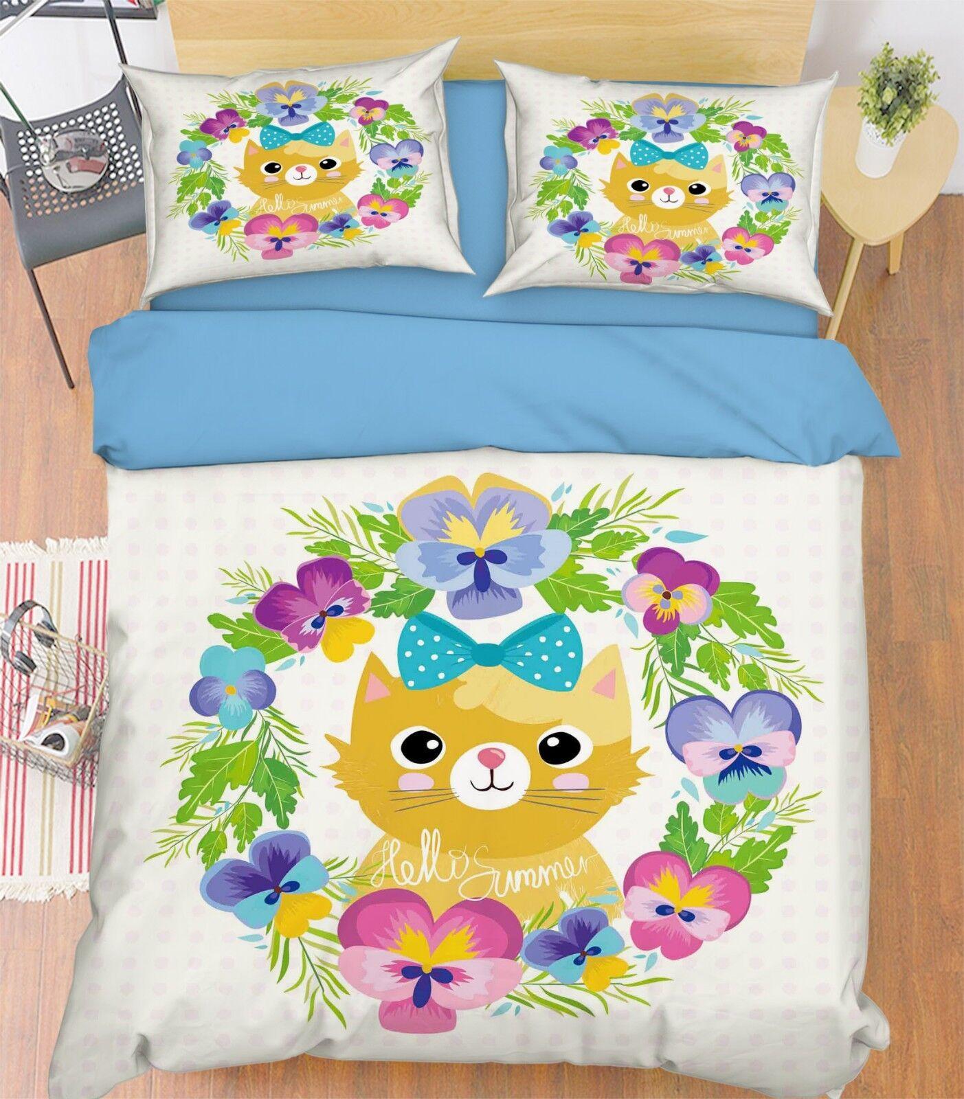 3D Leaf Cat Kid 688 Bed Pillowcases Quilt Duvet Cover Set Single King UK Summer