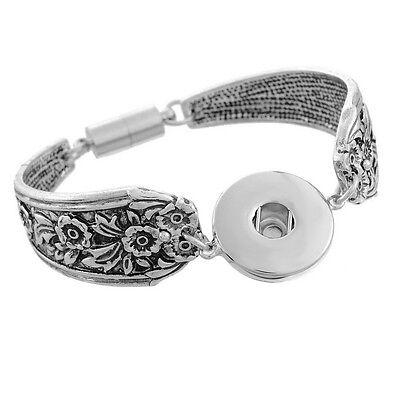 1 Bracelet Motif Fleur Fermoir magnétique Pour Bouton Pression DIY 19cm