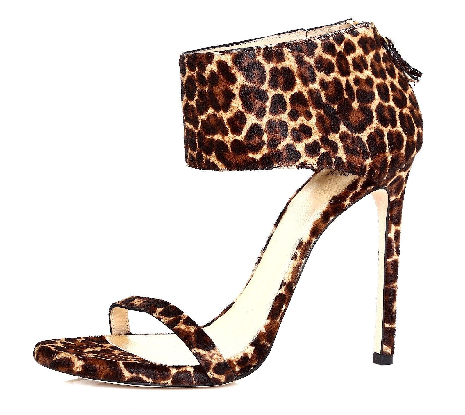 Stuart Weitzman Showgirl Ankle Cuff Sandal Chocolate Calf Hair damen 10.5M 4104