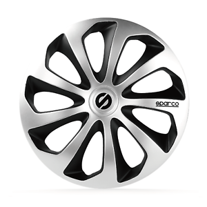 """4 Copricerchi auto universali SPARCO mod  SICILIA PRO borchie 16/"""" silver e nero"""