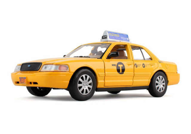 12 Pack NYC Ford Crown Victoria Taxi Cab Diecast Car 1:40 Kinsfun 5 inch Yellow