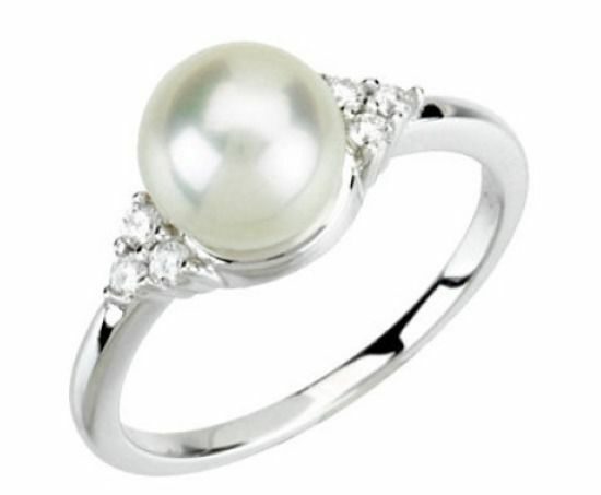 Cultured Freshwater Pearl & 1 8 ct tw GH I1 Diamonds 14K. Solid White gold Ring