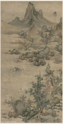 Chinese old scroll painting Mountain landscape in autumn Lan Ying Ming dynasty