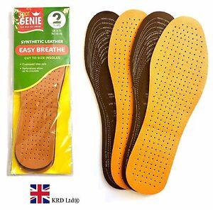 2 Pack Cool Leather Inner Soles Shoe Insoles Adult Men Ladies Unisex