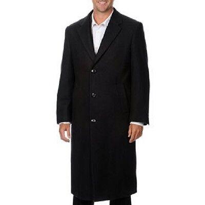 Cianni Cellini Harvard' Black Men's Wool Blend Long Top Coat 38 R NEW