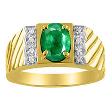 Mens Diamond & Emerald Ring 14K Yellow Gold