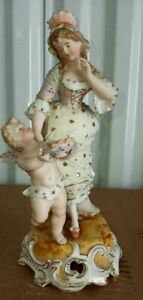 """Antique German Style Porcelain Figurine, """"Cupid offers hearts"""", 8"""" H."""