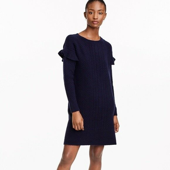 dcfaa3f402b J.CREW Navy Blue Cable-knit ruffle-sleeve sweater-dress Peite Large ...
