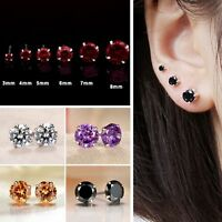 2x Round Amethyst Crystal Cubic Zirconia Ear Stud 925 Sterling Silver Earrings