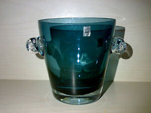GRAL-GLAS-Vintage-Eiskuebel-Eisbecher-Eiskuehler-Blau-Blue-Gralglas-H-ca-10-cm