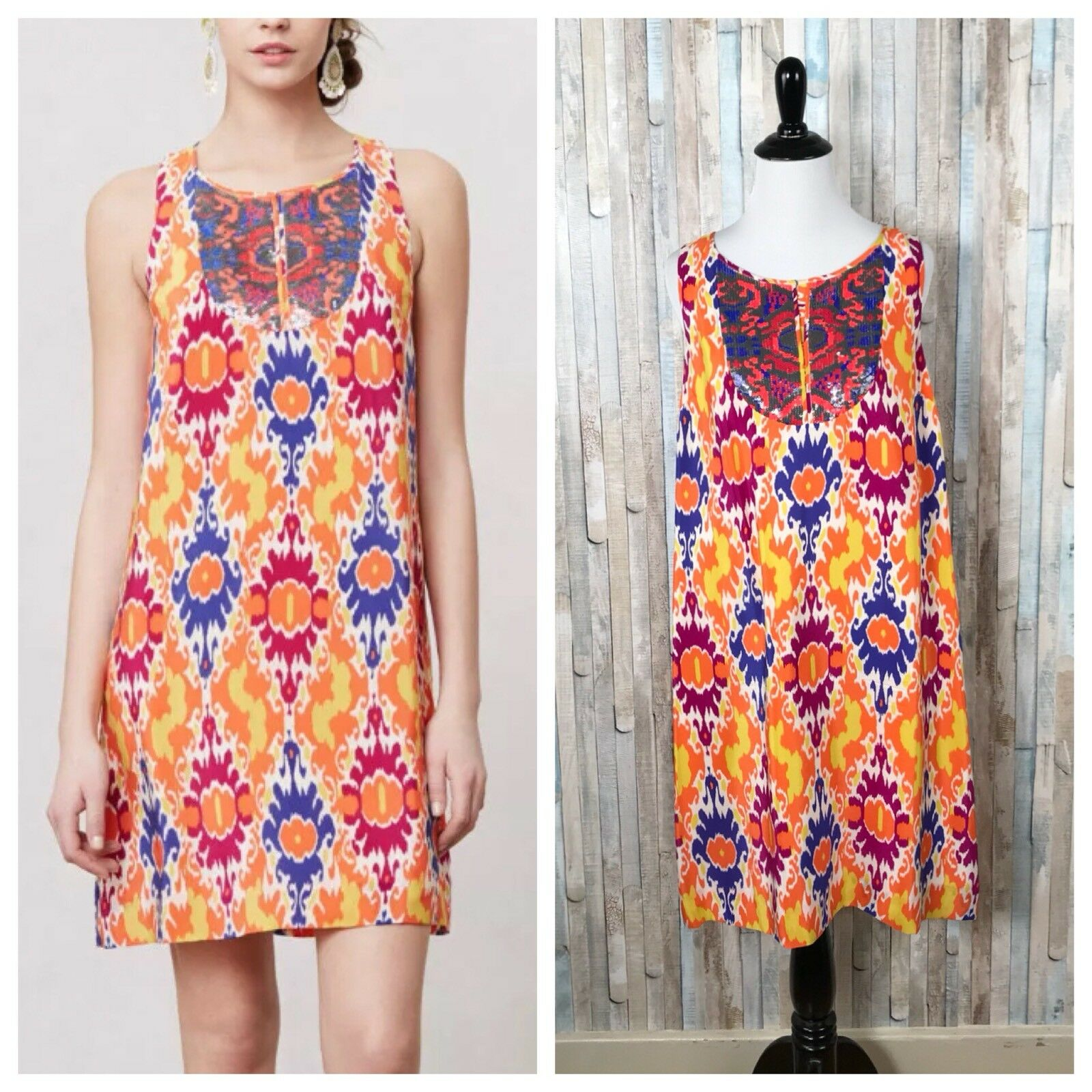 Anthropologie 8 Floreat Farbeé 100% soie orné de sequins Kaléidoscope Robe Shift
