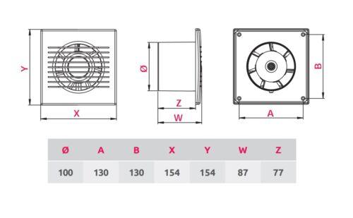 Estrattore Bagno Ventilatore 100mm//BIANCO WC Ventilatore//parete soffitto AIR VENT