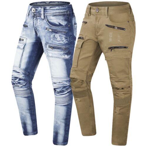 Zip Uomo Nuove Premium Elasticizzato Tasche Sdrucito Jeans Da Cargo Pantaloni US4qwf1g